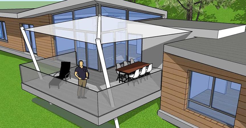 Nuova villa in legno prefabbricata Verona terrazzo 2