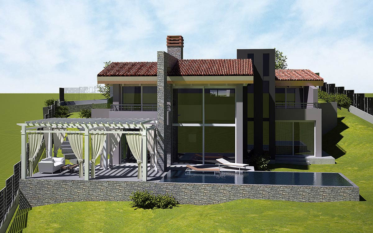 Casa in legno Cuneo piscina pergola