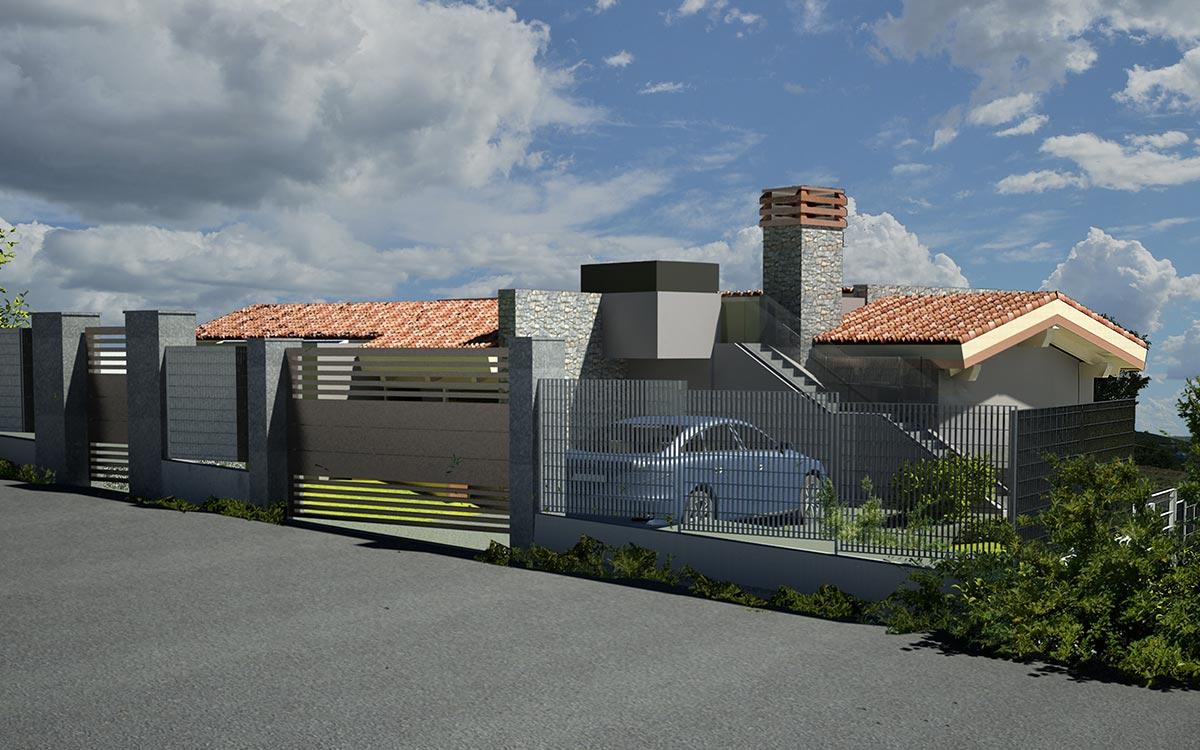Casa in legno Cuneo rendering ingresso