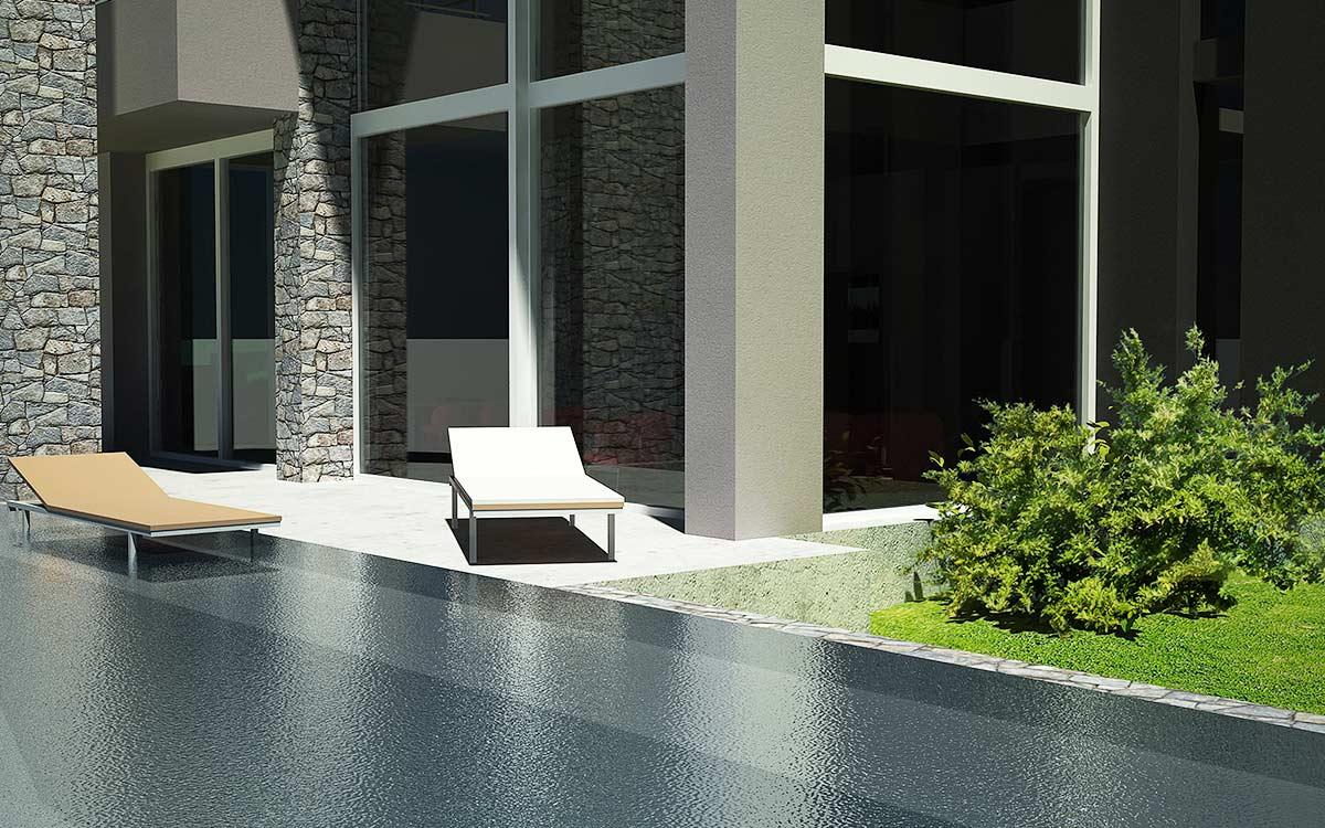 Casa in legno Cuneo rendering piscina