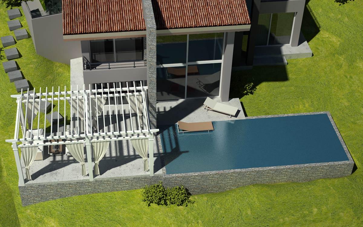 Casa in legno Alba rendering vista aerea