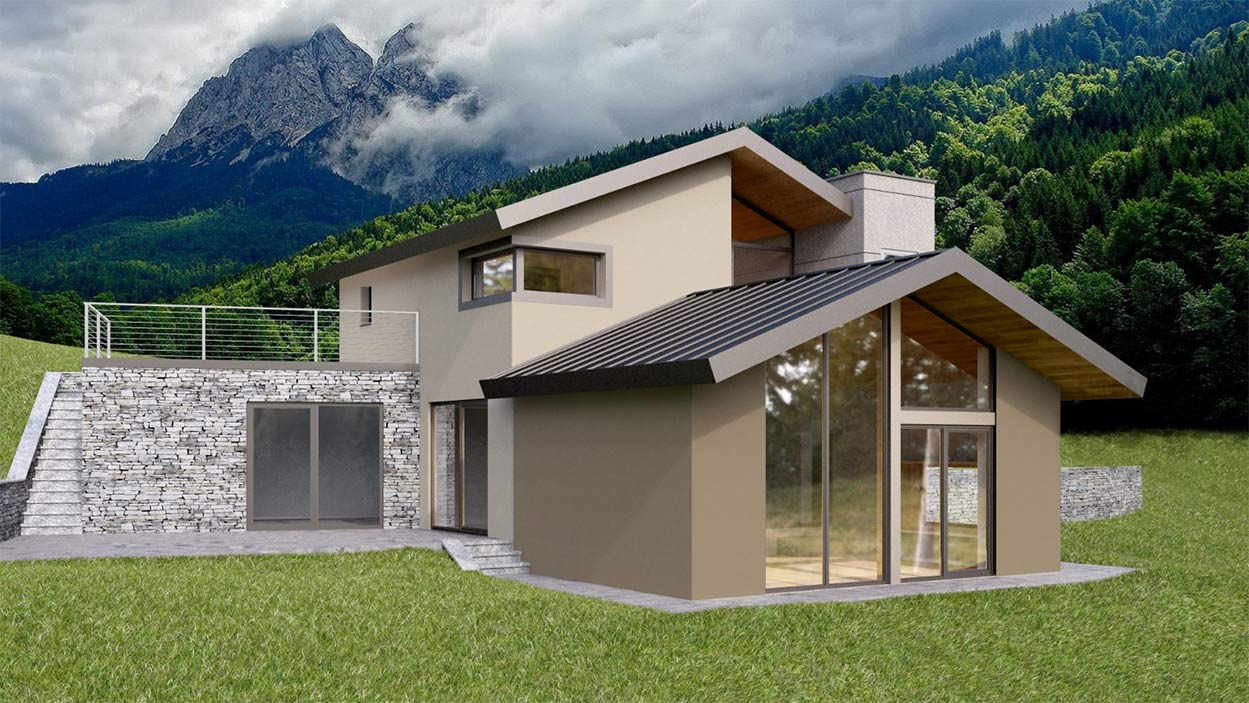 Casa in legno Aosta rendering dettagli su misura
