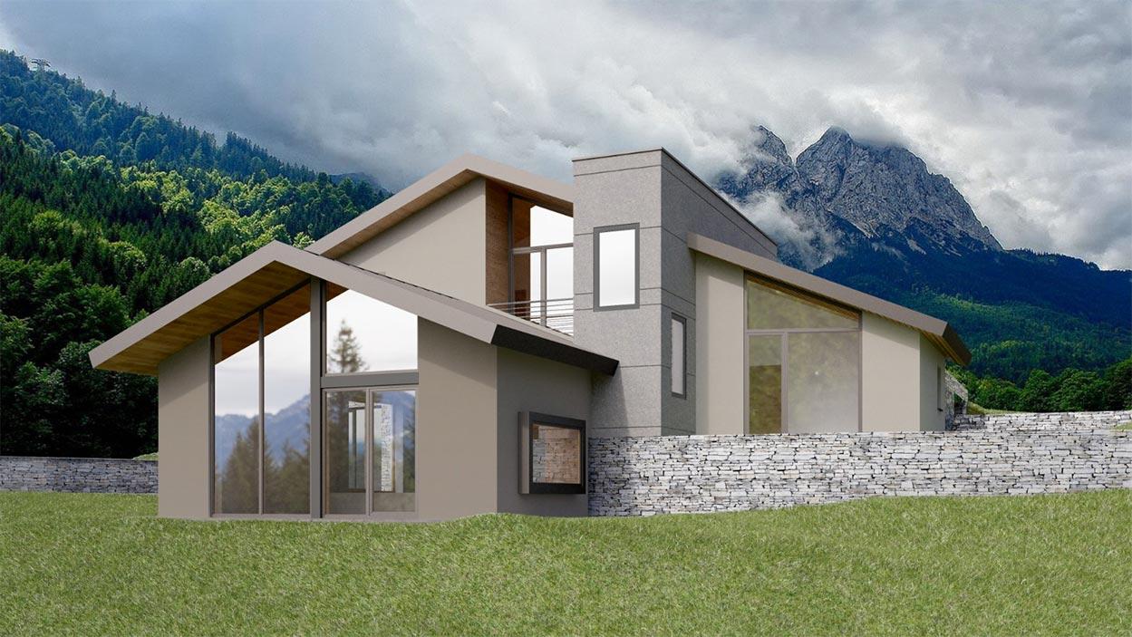 Una villa in legno su quattro piani con vista sulle Alpi della Val d'Aosta