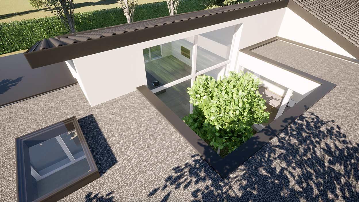 Casa in legno Angera Varese rendering patio interno