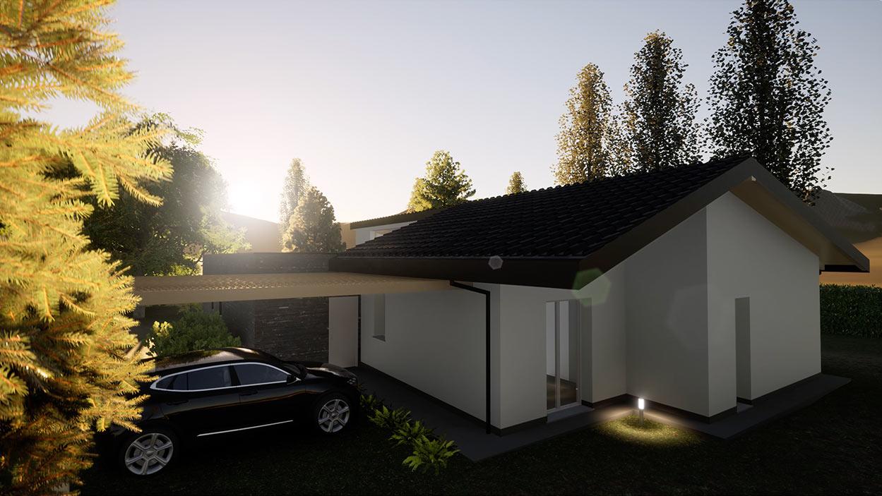 Casa in legno Angera Varese rendering villa moderna